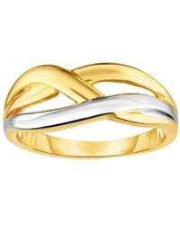 Jewelry Affairs - 14k Yellow Gold Cross Over X Design Fashion Ring, Size 7 - Lyst