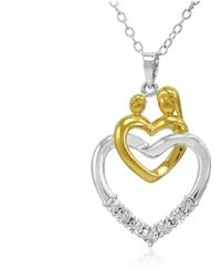 Amanda Rose Collection - Mother And Child Diamond Heart Pendant Necklace In Two Tone Sterling Silver - Lyst