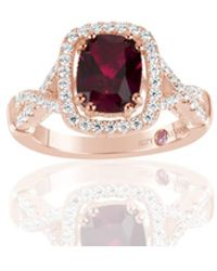 Suzy Levian - Rose Sterling Silver Created Ruby And White Cubic Zirconia Engagement Ring - Lyst