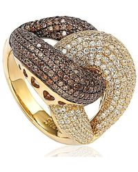 Suzy Levian - Goldplated Sterling Silver Brown Cubic Zirconia Anniversary Ring - Lyst