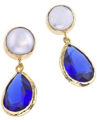 Jewelista - 18k Gold Plate, Pearl & Quartz Earrings - Lyst