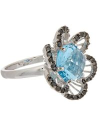 Effy - Fine Jewelry 14k 6.40 Ct. Tw. Diamond & Blue Topaz Ring - Lyst