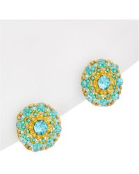 Miguel Ases - 18k Plated Crystal & Gemstone Studs - Lyst