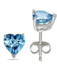 Tia Collections - 7x7 Heart Shape Aqua Earrings In 14k White Gold - Lyst