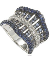 Suzy Levian | Sterling Silver Sapphire And 6 Cttw Diamond Gladiator Ring | Lyst