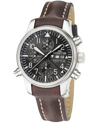Fortis - : Men's F43 Flieger,steel,chronograph, Alarm, Limited Edition, Black Dial Watch - Lyst