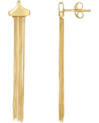 Jewelry Affairs - 14k Yellow Gold Multi Strand Curb Chain Tassel Earrings - Lyst