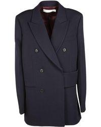 Victoria Beckham - Women's Jkstr5200maw17sapphire Blue Wool Coat - Lyst