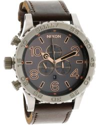 Nixon - Men's 51-30 Chrono Leather A1242064 Silver Japanese Quartz Fashion Watch - Lyst