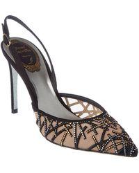 a0ac2ac6d006 Rene Caovilla - Embellished Mesh   Suede Slingback Sandal - Lyst