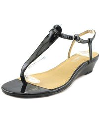 b1a3a0a4c2 Splendid   Justin Women Open Toe Patent Leather Black Wedge Heel   Lyst