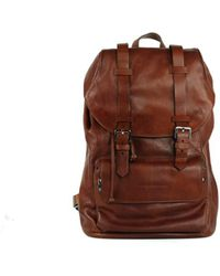 Brunello Cucinelli - Solid Burnt Red Leather Full Rucksack Backpack - Lyst