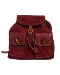 550ef613e2d8 Gucci - Pre Owned - Purple Suede Leather Trim Drawstring Bamboo Backpack -  Lyst