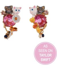 Les Nereides - Little Cats Duo With Faceted Glass And Charms Earrings - As Seen On Taylor Swift - Lyst