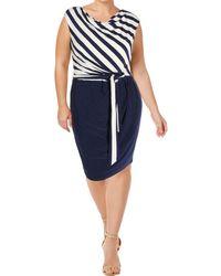 Lauren by Ralph Lauren - Womens Striped Tie Waist Party Dress - Lyst