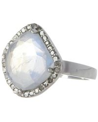 Adornia - Moonstone And Diamond Mini Sasha Ring - Lyst