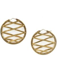 Roberto Cavalli - Gold Tone Metal Lacing Guard Hoop Earrings - Lyst