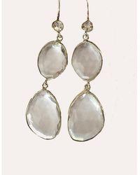 Blue Candy Jewelry - Poprox Double Drop Earrings Clear Quartz - Lyst