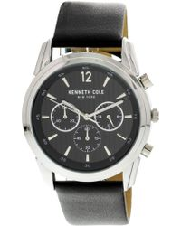 Kenneth Cole - Men's Kc50229001 Silver Leather Japanese Quartz Fashion Watch - Lyst