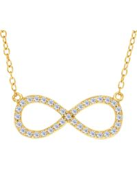 Jewelry Affairs - Infinity Sign Link And Cz Necklace In Yellow Color Finish Sterling Silver, 18 - Lyst