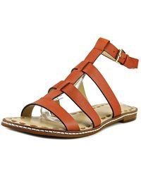 MICHAEL Michael Kors - Fallon Flat Women Open-toe Leather Orange Slingback Sandal - Lyst
