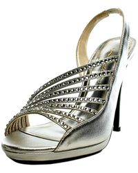 Caparros - Addison Women Peep-toe Canvas Silver Heels - Lyst