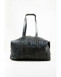 Fendi - 1 Vintage Grey Leather Croc Embossed Top Handle Duffel Bag - Lyst