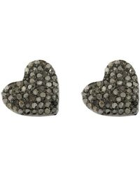 Adornia - Sterling Silver And Diamond Heart Studs - Lyst