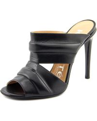 Kalliste - Vitello Women Open Toe Leather Black Slides Sandal - Lyst