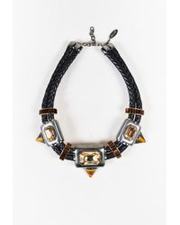 Roberto Cavalli - Black Multicolor Metal Crystal Leather Statement Collar Necklace - Lyst