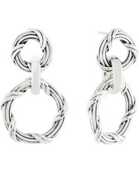 Peter Thomas Roth Fine Jewelry - Peter Thomas Roth Signature Mixed Link Circle Drop Earrings In Sterling Silver - Lyst