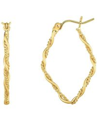 Jewelry Affairs - 14k Gold Yellow Finish Shiny Textured Tube Hoop Fancy Earring - Lyst