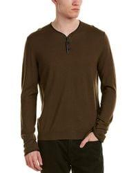 The Kooples | Leather-trim Merino Wool Henley Top | Lyst