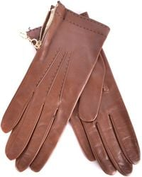 Burberry - Women's Brown Leather Gloves - Lyst
