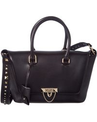 Valentino - Small Demilune Leather Double Handle Satchel - Lyst