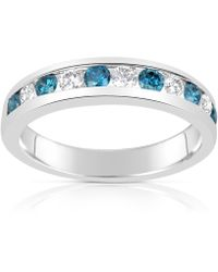 Suzy Levian - 14k White Gold .74ct Tdw Blue And White Diamond Modern Band Ring - Lyst
