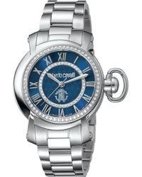 Roberto Cavalli - Women's Blue Dial Stainless Steel Watch - Lyst