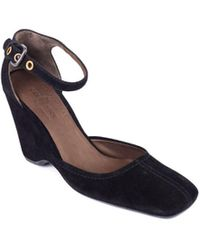 Car Shoe - Womens Black Suede Wedge Ankle Strap Pumps - Lyst