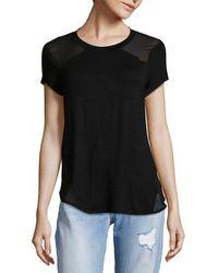 Saks Fifth Avenue Black - Sheer Paneled T-shirt - Lyst