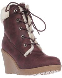 Mojo Moxy - Dolce By Fresco Wedge Ankle Boot Booties, Burgandy - Lyst