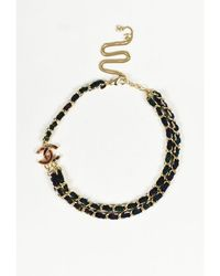 Chanel - 1 Fall 2013 Blue Canvas Gold Tone Metal 'cc' Chain Link Necklace - Lyst
