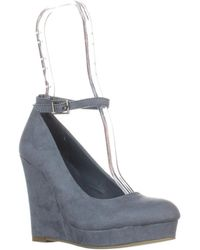 Material Girl - Mg35 Vivie Ankle-strap Wedge Pumps, Powder Blue - Lyst
