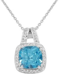 Amanda Rose Collection - Cushion Cut Swiss Blue And White Topaz Pendant-necklace In Sterling Silver - Lyst