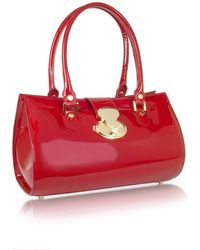 L.A.P.A. | Crystal Buckle Patent Leather Barrel Bag | Lyst