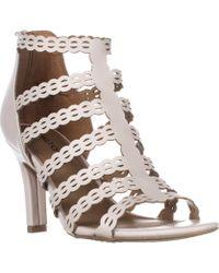 Rialto - Roma Strappy Zip Heel Sandals, Linen - Lyst