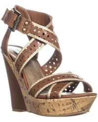 Guess - G By Bethia Strappy Wedge Sandals, Brown Multi - Lyst