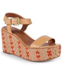 Frye - Heather Woven Leather Wedge Sandal - Lyst