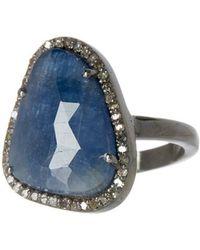 Adornia - Blue Sapphire And Diamond Mini Sasha Ring - Lyst