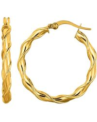 Jewelry Affairs - 14k Yellow Gold Round Type Twisted Hoop Earrings, Diameter 28mm - Lyst