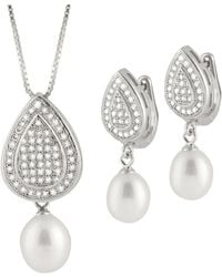 Splendid - Micropave Fancy Cz & Pearl Pendant And Earring Set - Lyst